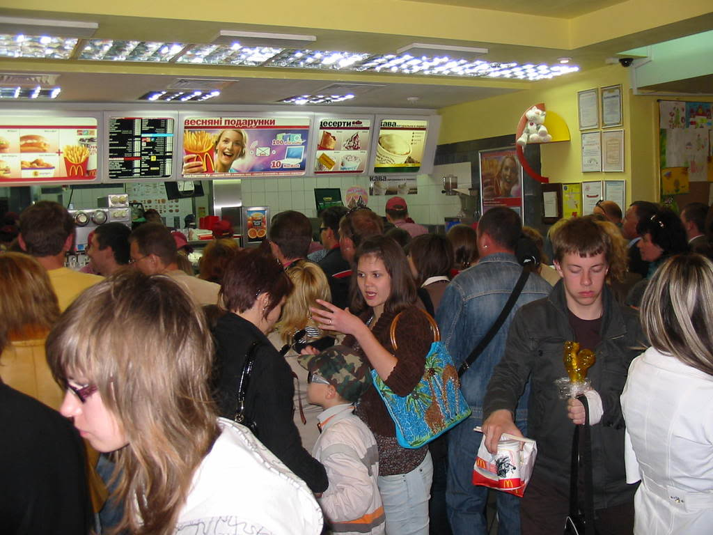 This photo was taken by the author inside the lone McDonalds in Sevastopol, Ukraine on a weekday afternoon. The crowd size is standard.